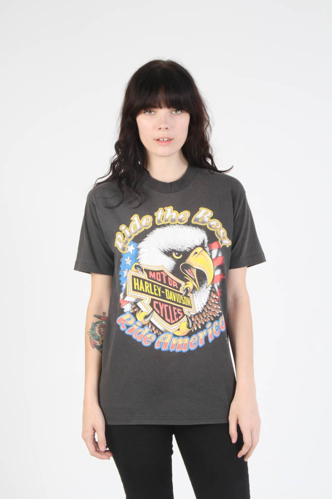 Vintage 1980s Harley Davidson Ride The Best T Shirt GIRL