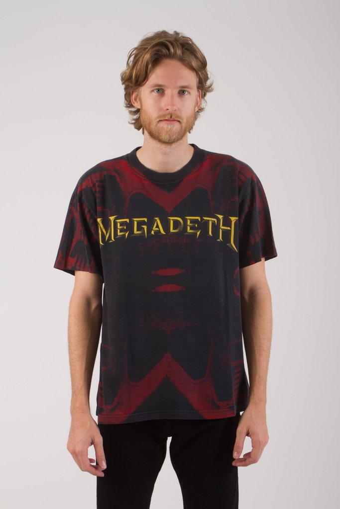 Vintage 1990s Megadeth All-Over Print Tour T Shirt