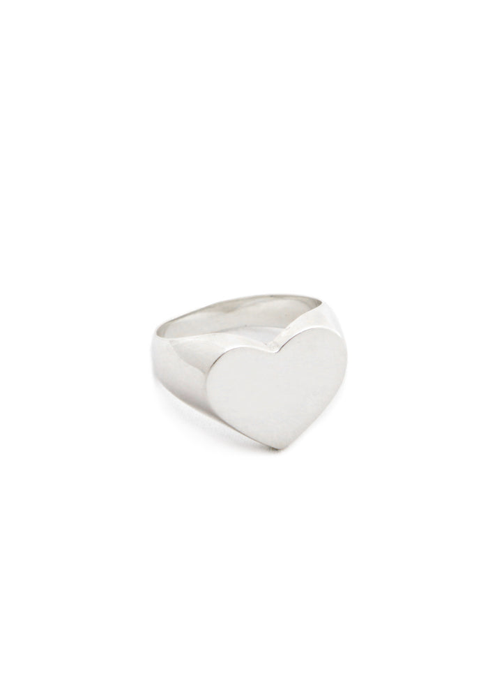 Plain Heart Signet Ring