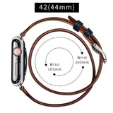 Double Tour Genuine Leather Band for Apple Watch 44/42mm Series 1/2/3/4 Combined Color - MifanGo.com