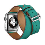 Double Tour Genuine Leather Band for Apple Watch 44/42mm Series 1/2/3//5 Green - MifanGo.com