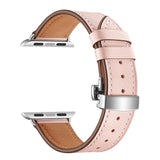 Premium Genuine Leather Band for Apple Watch 40/38mm Pink w/ Silver Click - MifanGo.com