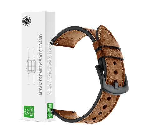 Genuine Leather Band 20mm Dot Design Brown for Samsung/Huawei/Garmin/Fossil - MifanGo.com