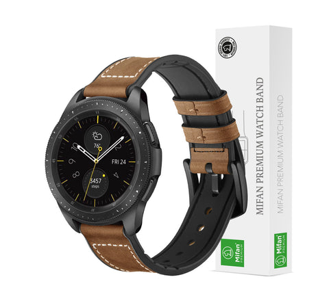 Mifan Hybrid Silicone Genuine Leather Band 20mm Light Brown for Samsung/Huawei/Garmin/Fossil - MifanGo.com