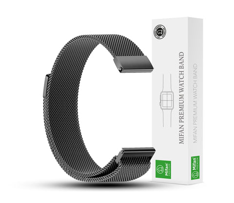 Mifan Milanese Loop Band 20mm Width Black for Samsung/Huawei/Garmin/Fossil - MifanGo.com