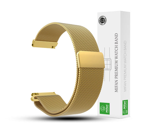 Mifan Milanese Loop Band 22mm Width Gold for Samsung/Huawei/Garmin/Fossil - MifanGo.com