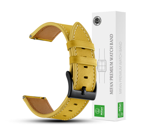 Mifan Genuine Leather Band 20mm Supreme Mustard Yellow for Samsung/Huawei/Garmin/Fossil - MifanGo.com