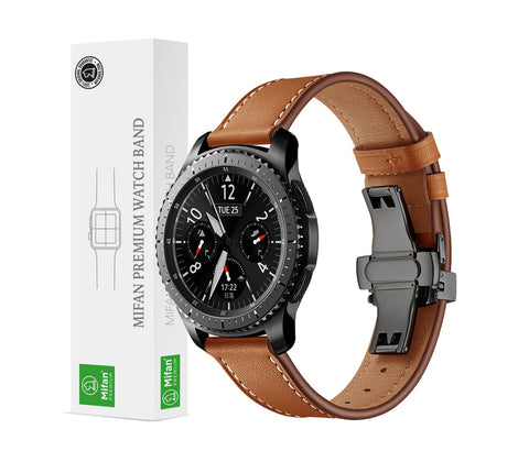 Mifan Premium Genuine Leather Band 22mm Width Brown with Black Click - MifanGo.com