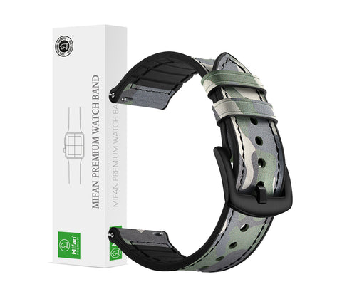 Mifan Hybrid Silicone Genuine Leather Band 22mm Camouflage Green for Samsung/Huawei/Garmin/Fossil - MifanGo.com
