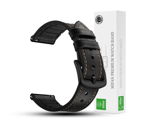 Mifan Hybrid Silicone Genuine Leather Band 22mm Dot Design Black for Samsung/Huawei/Garmin/Fossil - MifanGo.com