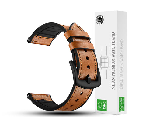 Mifan Hybrid Silicone Genuine Leather Band 22mm Dot Design Brown for Samsung/Huawei/Garmin/Fossil - MifanGo.com