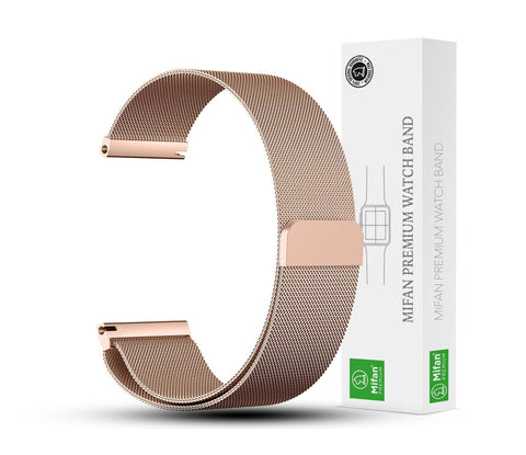 Mifan Milanese Loop Band 22mm Width Rose Gold for Samsung/Huawei/Garmin/Fossil - MifanGo.com