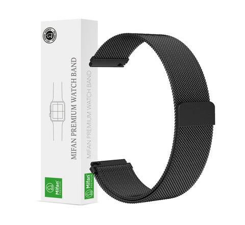 Mifan Milanese Loop Band 22mm Width Black for Samsung/Huawei/Garmin/Fossil - MifanGo.com