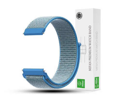 Mifan Nylon Loop Band 22mm Width Lake Blue for Samsung/Huawei Garmin/Fossil - MifanGo.com