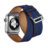 Double Tour Genuine Leather Band for Apple Watch 40/38mm Series 1/2/3/4/5 Dark Blue - MifanGo.com
