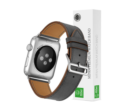Premium Genuine Leather Band for Apple Watch 40mm/38mm Supreme Grey - MifanGo.com