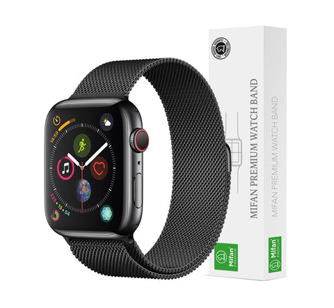 Mifan Official Milanese Loop Band for Apple Watch 40mm/38mm Series 1/2/3/4/5 Black Mesh - MifanGo.com