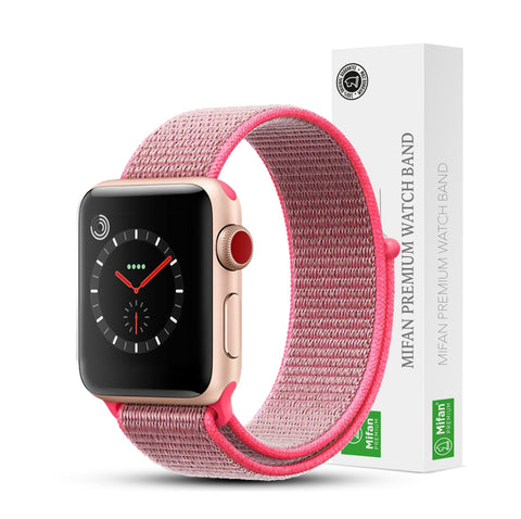 Mifan Official Nylon Loop Band for Apple Watch 40mm/38mm Series 1/2/3/4/5 Brilliant Pink - MifanGo.com
