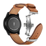 Mifan Premium Genuine Leather Band 22mm Width Brown with Silver Click - MifanGo.com