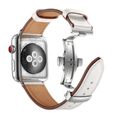 Premium Genuine Leather Band for Apple Watch 44/42mm White w/ Silver Click - MifanGo.com