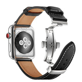 Premium Genuine Leather Band for Apple Watch 40/38mm Black w/ Silver Click - MifanGo.com