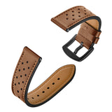 Genuine Leather Band 22mm Dot Design Brown for Samsung/Huawei/Garmin/Fossil - MifanGo.com
