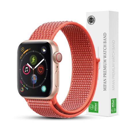 Mifan Official Nylon Loop Band for Apple Watch 40mm/38mm Series 1/2/3/4 Nectarine Orange - MifanGo.com