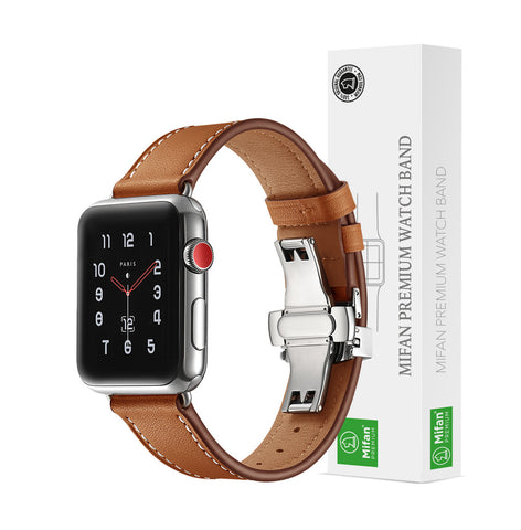 Premium Genuine Leather Band for Apple Watch 40/38mm Brown w/ Silver Click - MifanGo.com