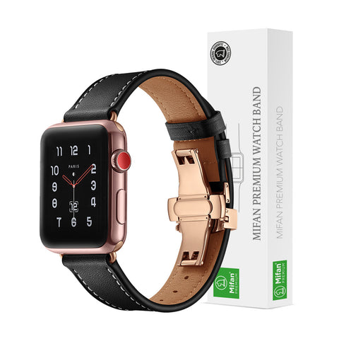 Premium Genuine Leather Band for Apple Watch 40/38mm Black w/ Rose Gold Click - MifanGo.com