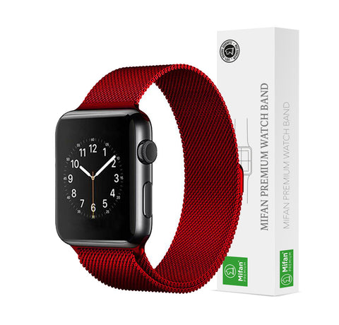 Mifan Official Milanese Loop Band for Apple Watch 40/38mm Series 1/2/3/4/5 Red - MifanGo.com