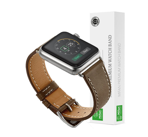 Premium Genuine Leather Band for Apple Watch 40mm/38mm Supreme Light Brown - MifanGo.com