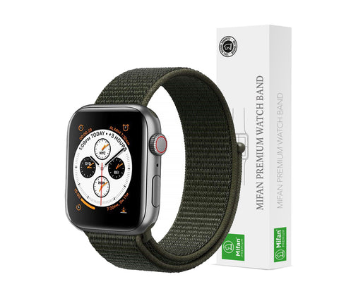 Mifan Official Nylon Loop Band for Apple Watch 40mm/38mm Series 1/2/3/4/5 Khaki Cargo Green - MifanGo.com