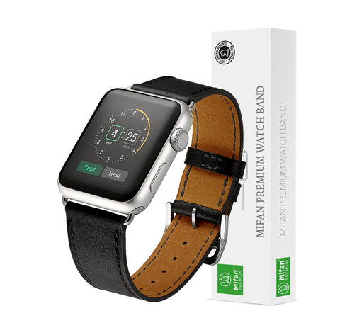 Premium Genuine Leather Band for Apple Watch 40mm/38mm Supreme Black - MifanGo.com