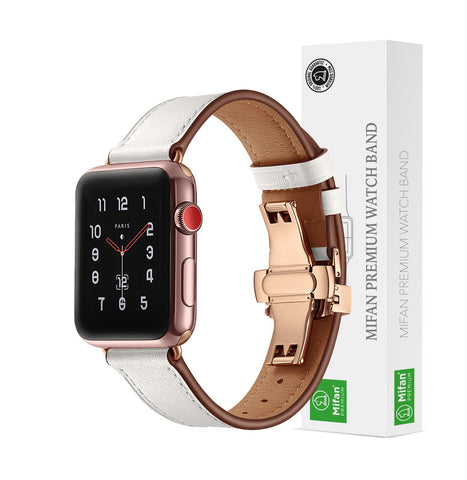 Premium Genuine Leather Band for Apple Watch 40/38mm White w/ Rose Gold Click - MifanGo.com