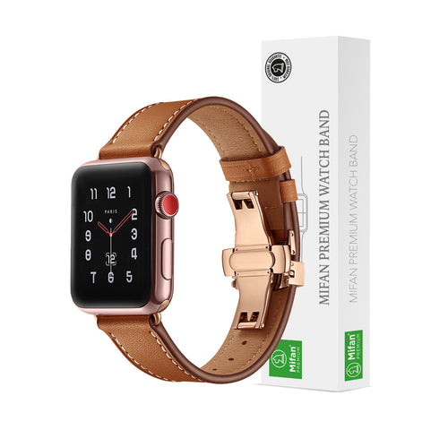 Premium Genuine Leather Band for Apple Watch 40/38mm Brown w/ Rose Gold Click - MifanGo.com