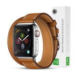 Double Tour Genuine Leather Band for Apple Watch 40/38mm Series 1/2/3/4/5 Brown - MifanGo.com