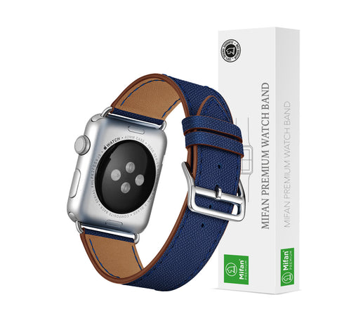 Premium Genuine Leather Band for Apple Watch 40mm/38mm Supreme Dark Blue - MifanGo.com