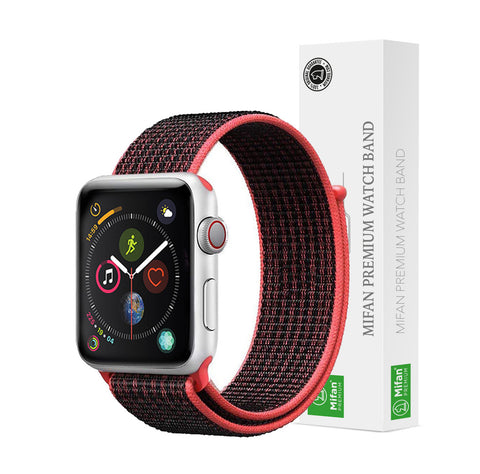 Mifan Official Nylon Loop Band for Apple Watch 40mm/38mm Series 1/2/3/4/5 Black Red - MifanGo.com