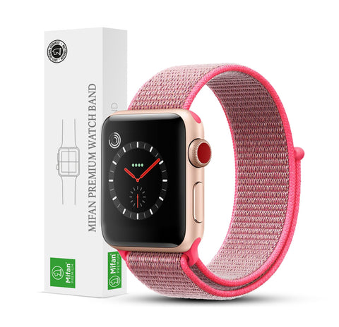 Mifan Official Nylon Loop Band for Apple Watch 44mm/42mm Series 1/2/3/4 Brilliant Pink - MifanGo.com