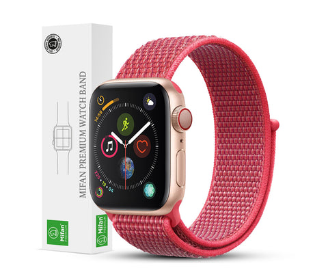 Mifan Official Nylon Loop Band for Apple Watch 44mm/42mm Series 1/2/3/4/5 Hibiscus Pink - MifanGo.com