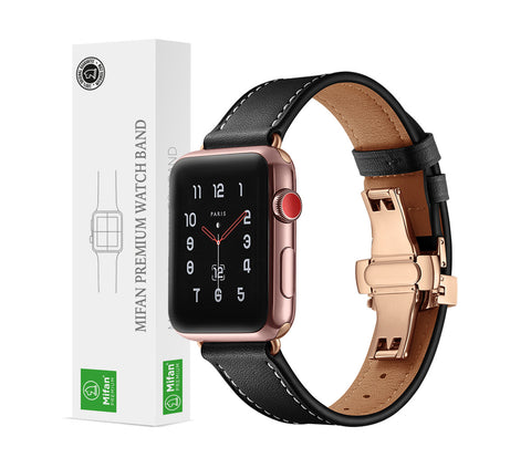 Premium Genuine Leather Band for Apple Watch 44/42mm Black w/ Rose Gold Click - MifanGo.com