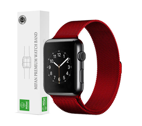 Mifan Official Milanese Loop Band for Apple Watch 44/42mm Series 1/2/3/4/5 Red - MifanGo.com