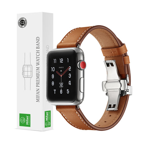 Premium Genuine Leather Band for Apple Watch 44/42mm Brown w/ Silver Click - MifanGo.com
