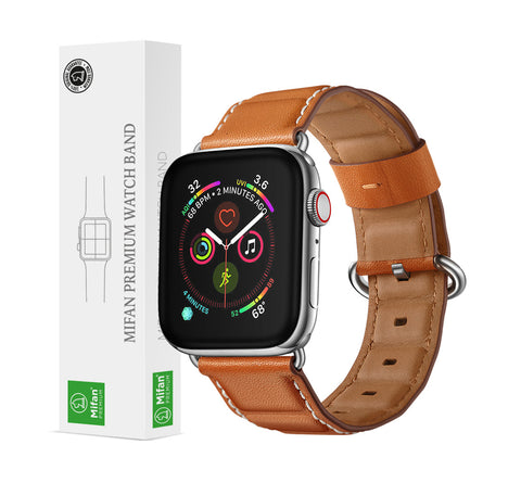 Mifan Official Genuine Leather Band for Apple Watch 44mm/42mm Wave Brown - MifanGo.com