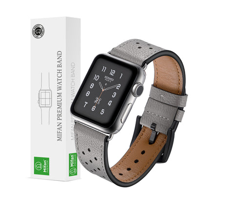 Mifan Genuine Leather Band for Apple Watch 44mm/42mm Dot Design Grey - MifanGo.com