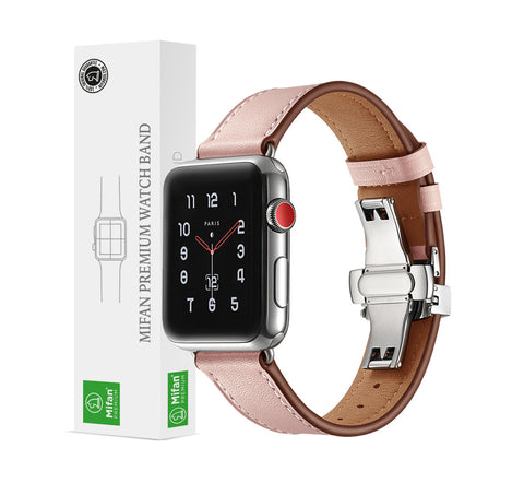 Premium Genuine Leather Band for Apple Watch 44/42mm Pink w/ Silver Click - MifanGo.com