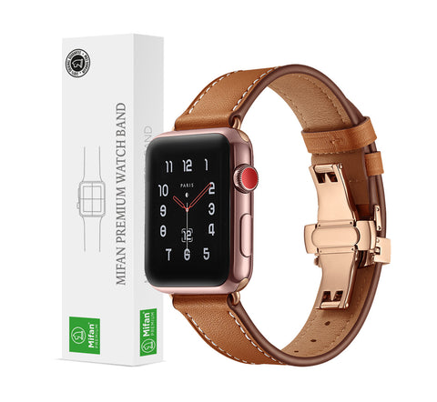Premium Genuine Leather Band for Apple Watch 44/42mm Brown w/ Rose Gold Click - MifanGo.com