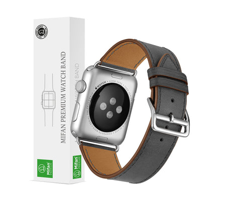 Premium Genuine Leather Band for Apple Watch 44mm/42mm Supreme Grey - MifanGo.com