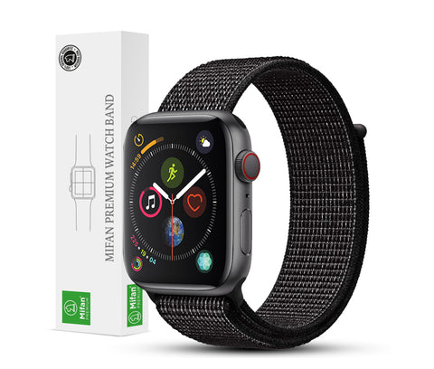 Mifan Official Nylon Loop Band for Apple Watch 44mm/42mm Series 1/2/3/4/5 Black Reflective - MifanGo.com