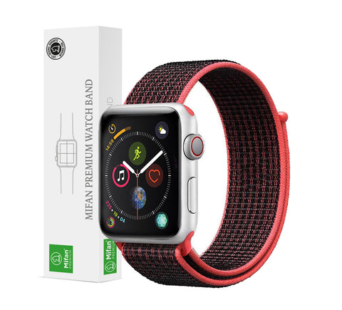 Mifan Official Nylon Loop Band for Apple Watch 44mm/42mm Series 1/2/3/4 Black Red - MifanGo.com